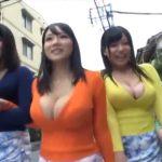 住宅街に出没する爆乳女優たち!胸元から見事な谷間が見えまくり状態で徘徊!